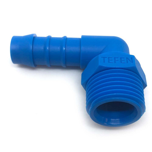 "1/2"" M THREAD 1/2"" BARB PLASTIC 90 DEGREE HOSE TAIL"